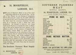Advert for the Southern Farmer's Meat Supply Agency